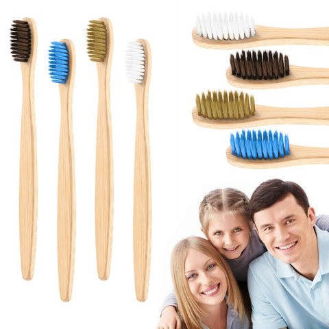 1PC Natural Bamboo Toothbrush Environment Wooden Charcoal Bamboo Toothbrush Oral Care Soft Bristle Adult Toothbrush