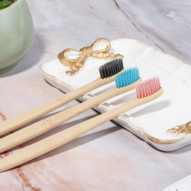 10pcs/set Environmental Bamboo Charcoal Toothbrush For Oral Health Low Carbon Medium Soft Bristle Wood Handle Toothbrush