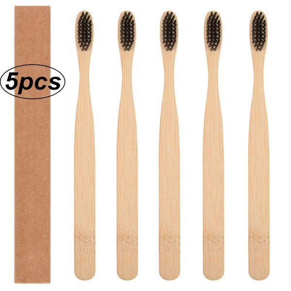 5/ 10pcs Toothbrush Bamboo Handle Rainbow Whitening Soft Bristle Bamboo Toothbrush Travel Eco-friendly Wooden Tooth Teeth Brush