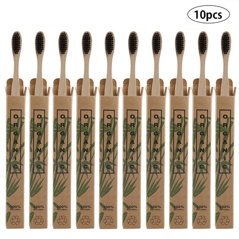 10pcs Natural Bamboo Handle Toothbrush Soft Brush Head Toothbrush Environmental Oral Care