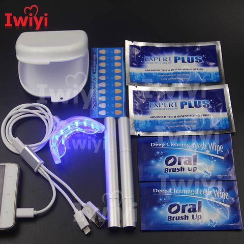 Advanced Kit 3Interface 16LED Teeth Whitening Pen Desensitize Strips Tooth Wipe Dust-Proof Box White Bleach Oral Dental Care