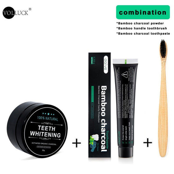 Teeth Whitening Kit Toothpaste Teeth Whitening Powder Activated Coconut Charcoal Powder Bamboo with Toothbrush for Oral Hygiene