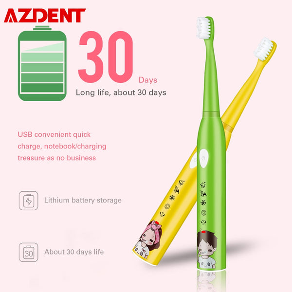 USB Rechargeable Kids Children Sonic Electric Toothbrush 5 Modes IPX7 Waterproof 30S Reminder 2min Smart Timer DuPont Bristle