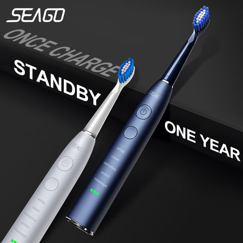 Seago Electric Sonic Toothbrush SG-575 USB Charge Rechargeable Adult Waterproof Electronic Tooth Brushes Replacement Heads Gift