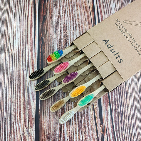 10pcs/lot Bamboo Wooden Toothbrush Soft Hair Banister Tooth Brushes Natural Bamboo Charcoal Toothbrush in Unattached Kraft Pack