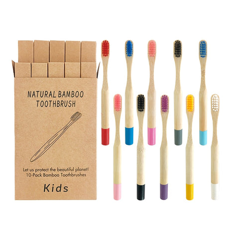 Bamboo Toothbrush Eco Friendly 10pcs  Wooden kids Tooth Brush Charcoal children Oral Care mixed color Wood Handle Toothbrush