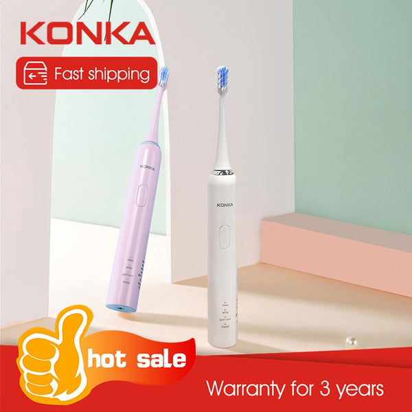 KONKA Adult sonic vibrating toothbrush 38000R Electric toothbrush Soft hair Automatic smart toothbrush Body 3 modes toothbrush