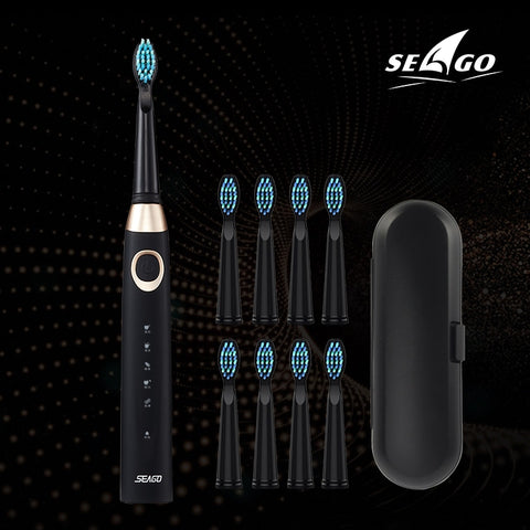 Seago Sonic Electric Toothbrush USB Rechargeable 5 Modes Smart Ultrasonic Toothbrushes Travel Case Oral Care Brush 8 Teeth Heads