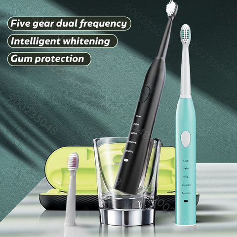 Sonic Electric Toothbrush Best 5 Modes Rechargeable USB + 4 Replacement Heads Waterproof Timer Tooth Brush Whitening for Adults