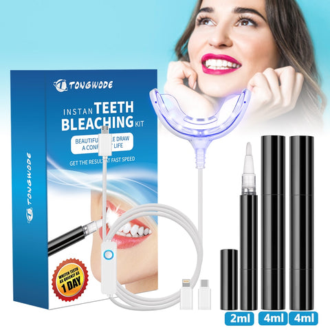 Teeth Whitening Kit with Advanced Smart Device Blue LED light for Phone Plug with 3 Gel Pen Tooth Bleaching Accelerator Home Set