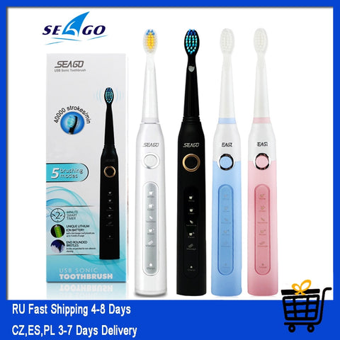 Seago SG-507 Sonic Electric Toothbrush Adult Timer Brush USB Rechargeable Electric Tooth Brushes with 3pc Replacement Brush Head