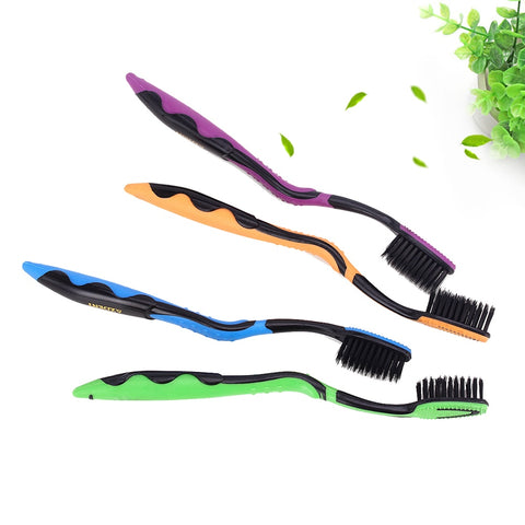 AZDENT 4pcs/lot Bamboo Charcoal Toothbrush Double Ultra Soft Toothbrushes  625 Nano-antibacterial Tooth Brush Teeth Whitening
