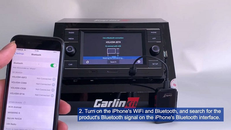 2.Turn on the iPones's WiFi and Bluetooth, and search for the product's Bluetooth signal on the iPhone's Bluetooth interface.