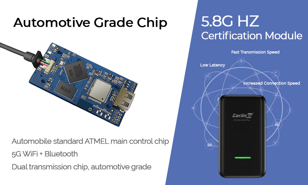 Adopting automobile standard ATMEL main control chip,5G WiFi + Bluetooth Dual transmission chip, automotive grade,5.8G HZ Certification module Increased connection speed Fast transmission speed Low latency Less susceptible to wireless interference