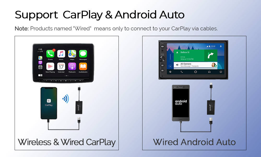 Carlinkit USB Dongle for Android Head Unit - Support Wireless Carplay via bluetooth and Wired Android auto via cable