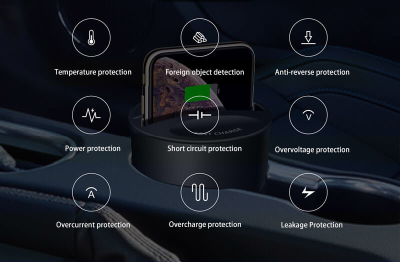 Convenient and fast as it is, it also pays attention to safety protection. If the charger get hot, it will automatically switch to the intelligent protection state to avoid safety hazards and ensure both the safety of the wireless charger and the phone while charging.