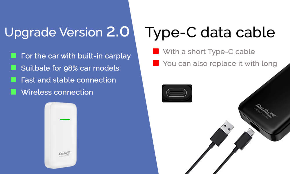 For the car with built-in carplay Suitbale for 98% car models Fast and stable connection Wireless connection With a short Type-C cable