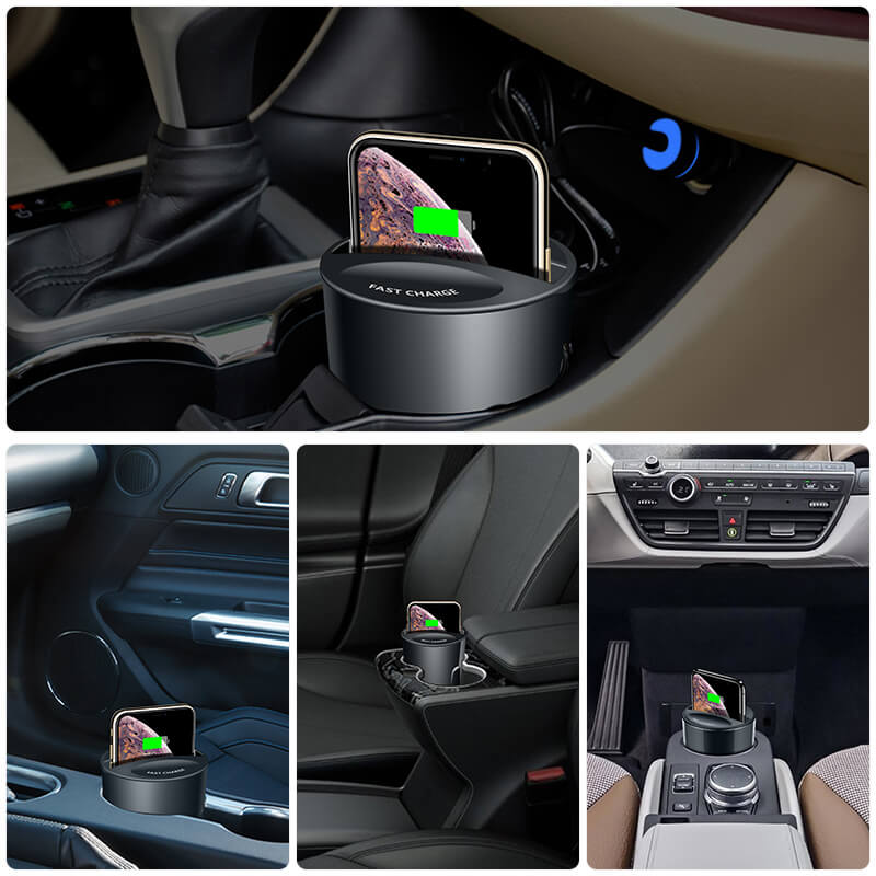 Fast Wireless Charger Cup For Car (10W/ WPC Qi Standard)