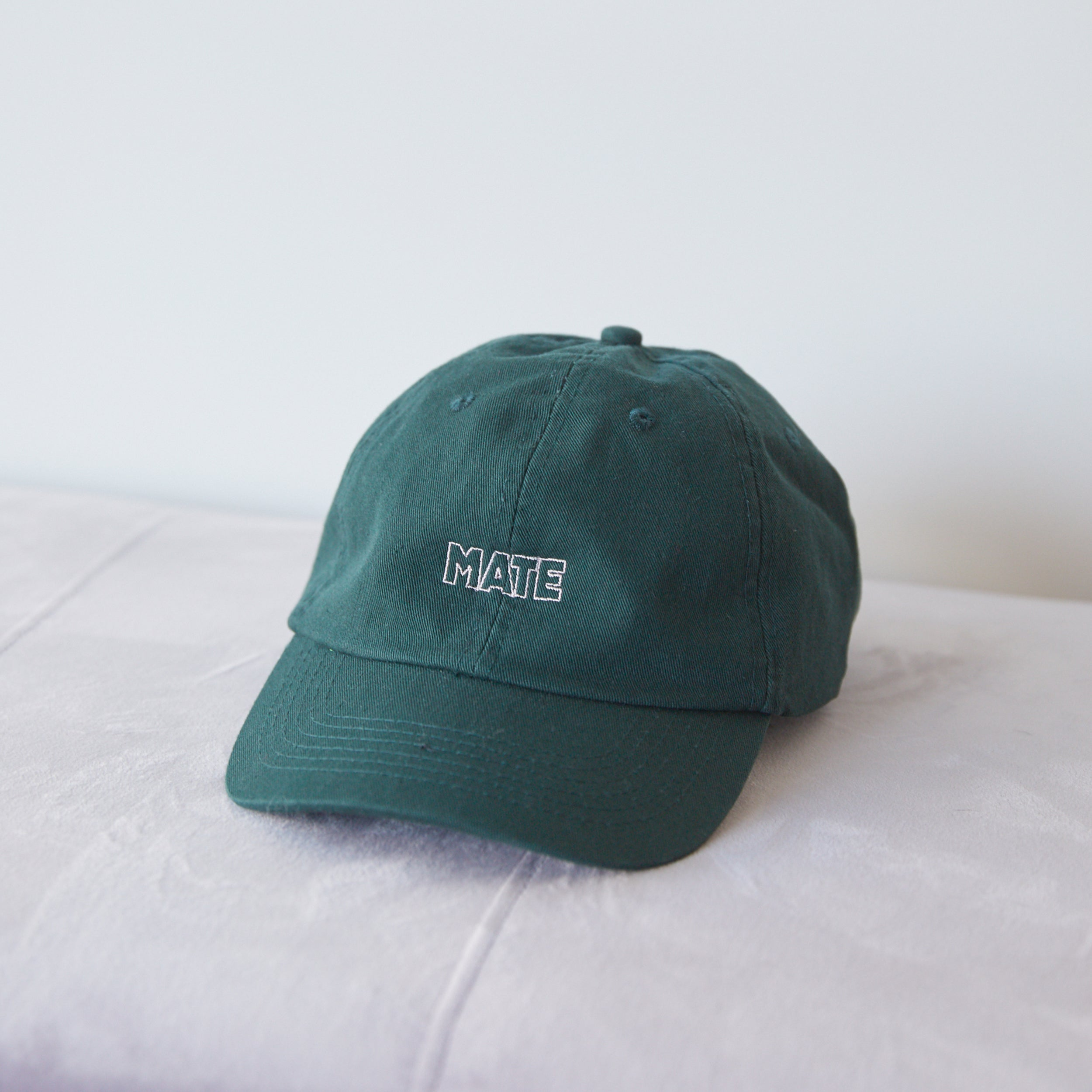 MATE WASHED TWILL HAT - FORREST GREEN/LIGHT PINK