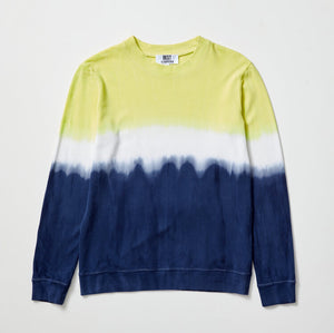PETE PIQUE LONG SLEEVE - FLURO LIME/NAVY