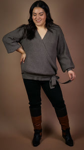 Noelle Faux Wrap Sweater
