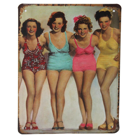 Bathing Beauties Retro Metal Wall Plaque 15x21cm