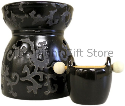 black ceramic oil burner cauldron style