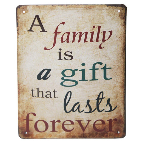 Family Is A Gift Retro Metal Wall Plaque 15x21cm