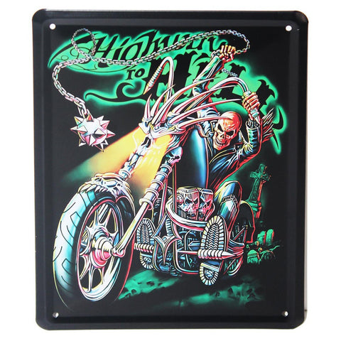 Highway to Hell Retro Metal Wall Plaque 15x21cm