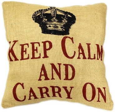 keep calm jute cushion