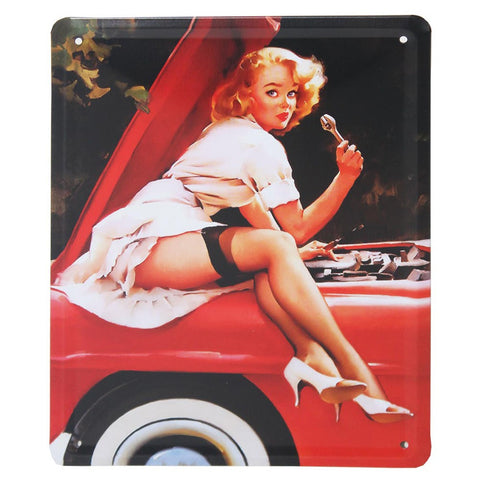 Leggy Mechanic Girl Retro Metal Wall Plaque 15x21cm