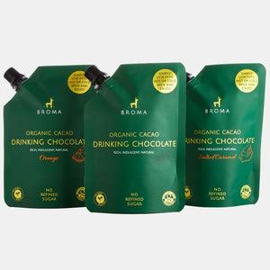 3 x Organic Cacao Drinking Chocolate - One of Each Flavour