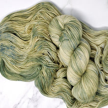 Load image into Gallery viewer, hand-dyed yarn in a variegated colorway that shifts between that unique shade of Yoda-green and pale green-cream highlights and generously dusted with a blue-sage speckles
