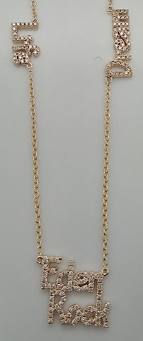Message necklace realized in 14K Yellow Gold and Grey Diamonds