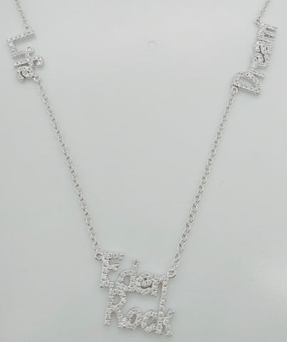 Message necklace realized in 14K White Gold and Grey Diamonds