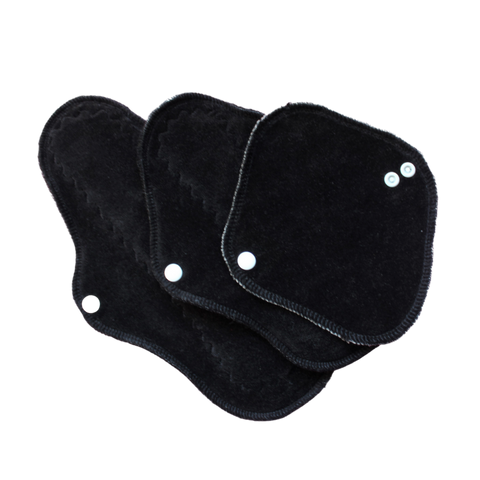 Black Bamboo Velour: Cloth Pad Size Sampler