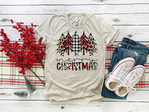 Merry Christmas Red Plaid Leopard Trees