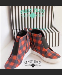 PLAID & SIMPLE SNEAKER hidden WEDGE BUFFALO PLAID