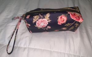 Floral navy cosmetic/makeup bag