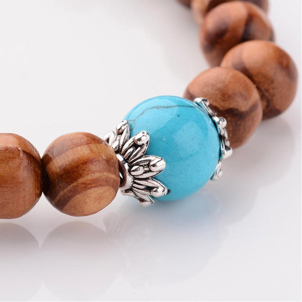 Wood Stretch Bracelets - Pick Your Gemstone - Zayra Mo