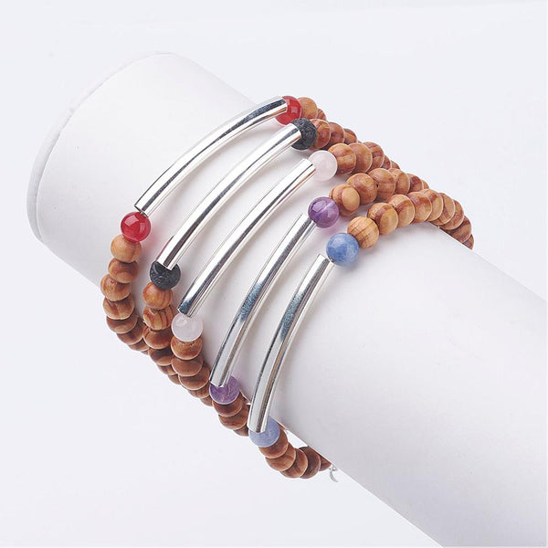 Wood Beads Bracelets, with Iron Tube Beads and Natural Gemstone - Pick Your Gemstone - Zayra Mo