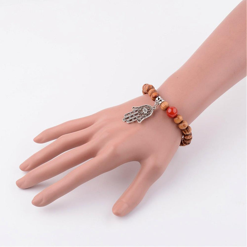 Wood Charm Bracelets, with Natural Carnelian Beads, and Alloy Findings, Hamsa Palm - Zayra Mo