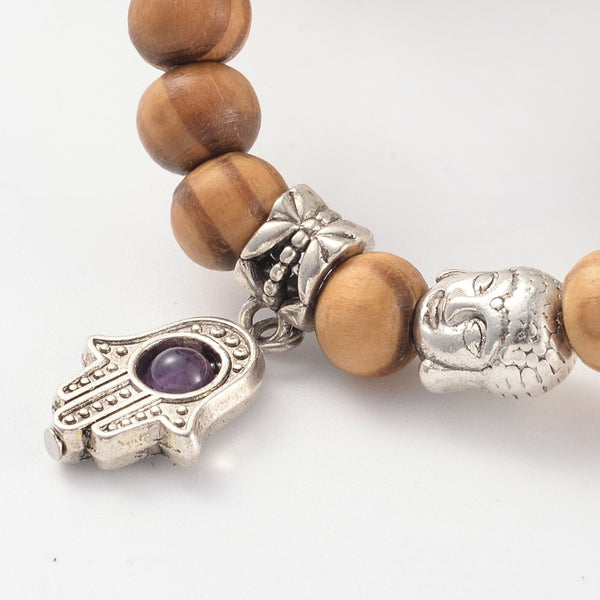 Wood Stretch Bracelets / Buddha / Hamsa - Pick Your Gemstone - Zayra Mo