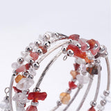 Five Loops Wrap Gemstone Beads Bracelets, with Crystal Chips Beads - Pick Your Gemstone - Zayra Mo