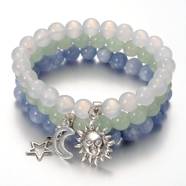 Tibetan Style Star & Moon & Sun Bracelets with Aquamarine, Quartz and Aventurine - The Yogi World - Zayra Mo