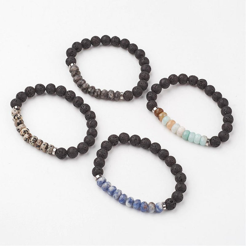 Natural Gemstone Stretch Bracelets, with Lava Beads and Brass Spacer Beads - Pick Your Gemstone - Zayra Mo