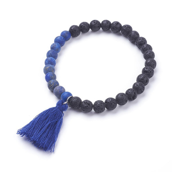 Natural Lapis Lazuli Stretch Charm Bracelets, with Tassels - Zayra Mo