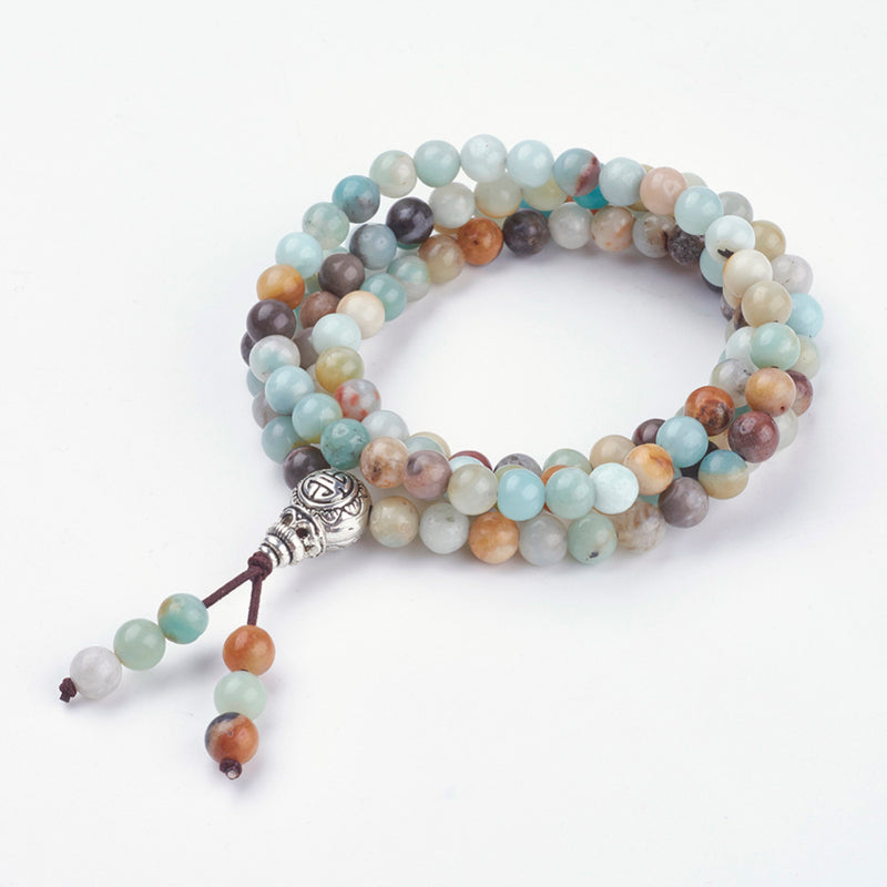 Four Loops Natural Amazonite Wrap Bracelets/Beaded Necklaces, with Alloy Findings - Zayra Mo