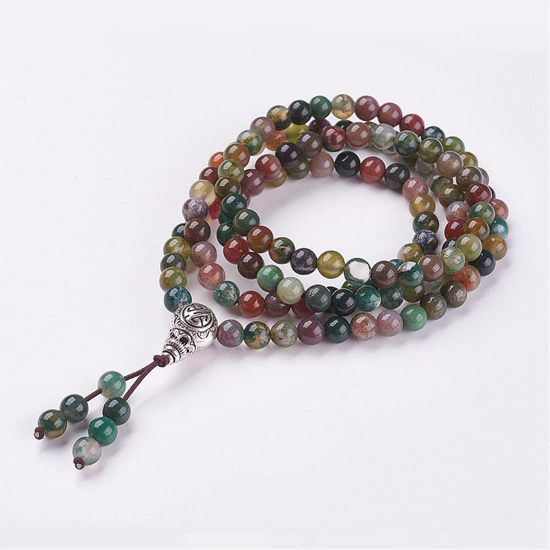 Four Loops Natural Indian Agate Wrap Bracelets/Beaded Necklaces, with Alloy Findings - Zayra Mo