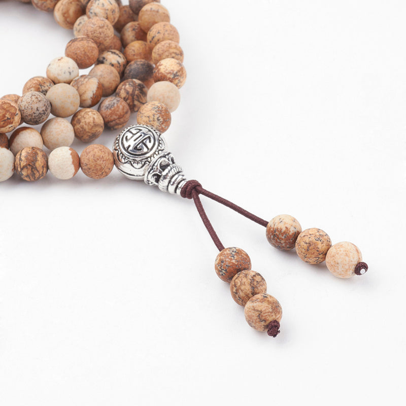 Four Loops Natural Picture Jasper Wrap Bracelets/Beaded Necklaces, with Alloy Findings - Zayra Mo